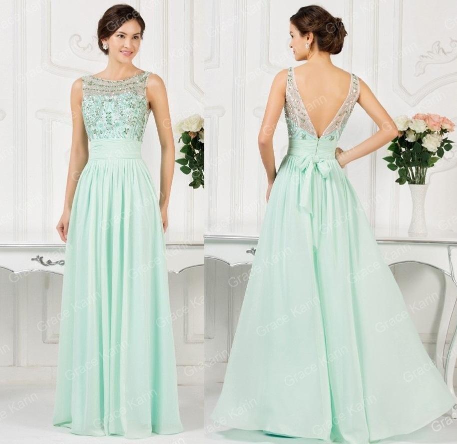 afcea367841 Изысканное вечернее платье из шифона приятного мятного цвета. Топ платья  украшен блестящими композициями.Чаши лифа средней плотности.Скрытая молния  сзади.