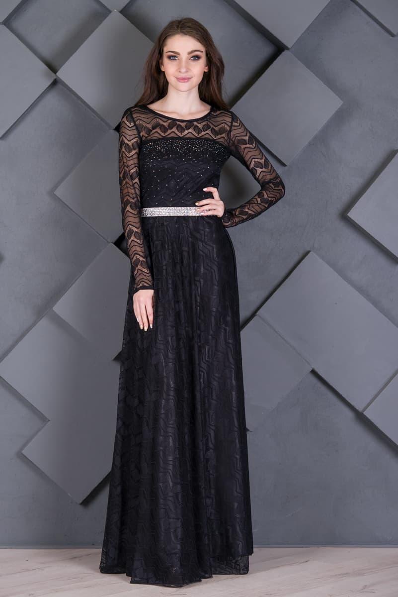c1ea2120b48904d Чёрное вечернее платье с рукавами