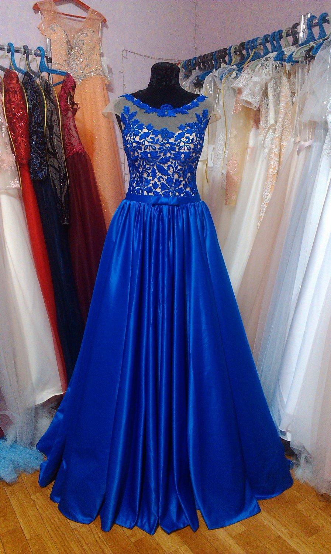 4c428b32933 Синее вечернее платье из Королевского атласа